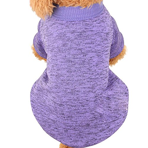 Farjing Pet Dog Sweater,Warm Puppy Sweater Fleece Sweater Clothes (S,Purple ()