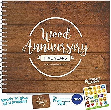 5th Anniversary Gifts For Couples By Year Five Year Booklet With Matching Card For Wood Anniversary Fifth Anniversary Memory Journal Unique 5 Year Wedding Gift For Husband Or Wife Amazon Co Uk
