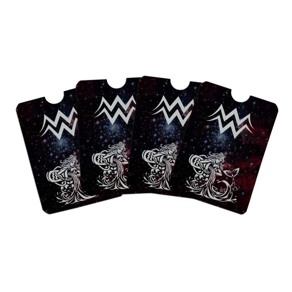 Aquarius Water-Bearer Zodiac Sign Horoscope in Space Credit Card RFID Blocker Holder Protector Wallet Purse Sleeves Set of 4