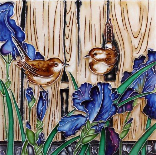 Wrens among the Iris - Decorative Ceramic Art Tile - 8