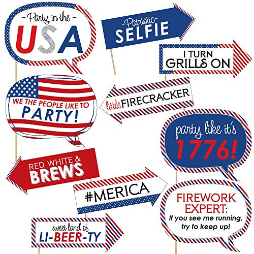 Funny 4th of July - Independence Day Photo Booth Props Kit - 10 Piece]()