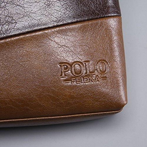 Hombre Paquete De Negocios Costura De Moda Golpear Paquete De Color Bolsa De Hombro Atmosférico De Gama Alta Bolso Diagonal Paquete Masculino Brown
