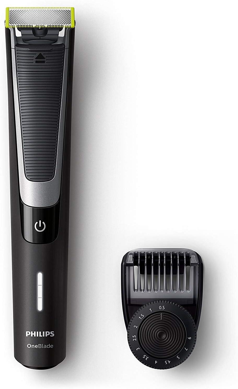 Philips OneBlade Pro QP6510/30 - Recortador de barba con peine de precisión de 12 longitudes, recorta, perfila y afeita, recargable