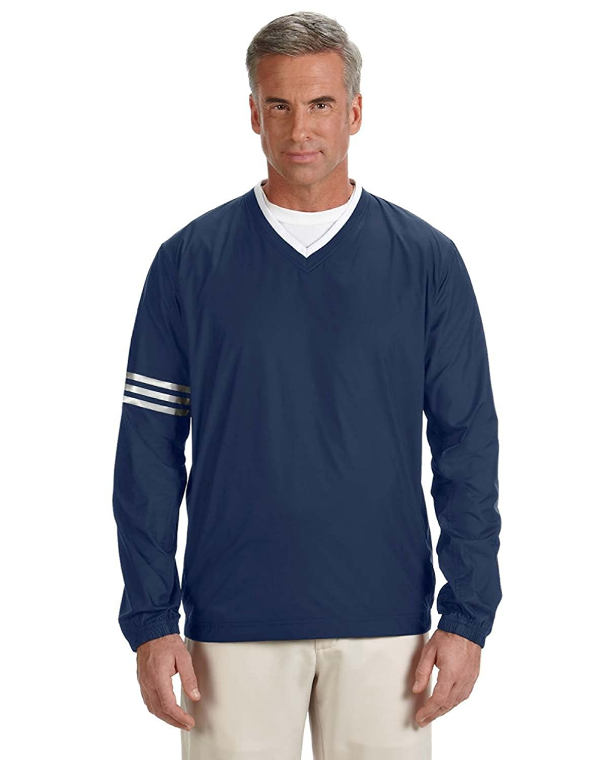 Navy  Navy 3XL adidas Men's Climalite color Block V-Neck Windshirt