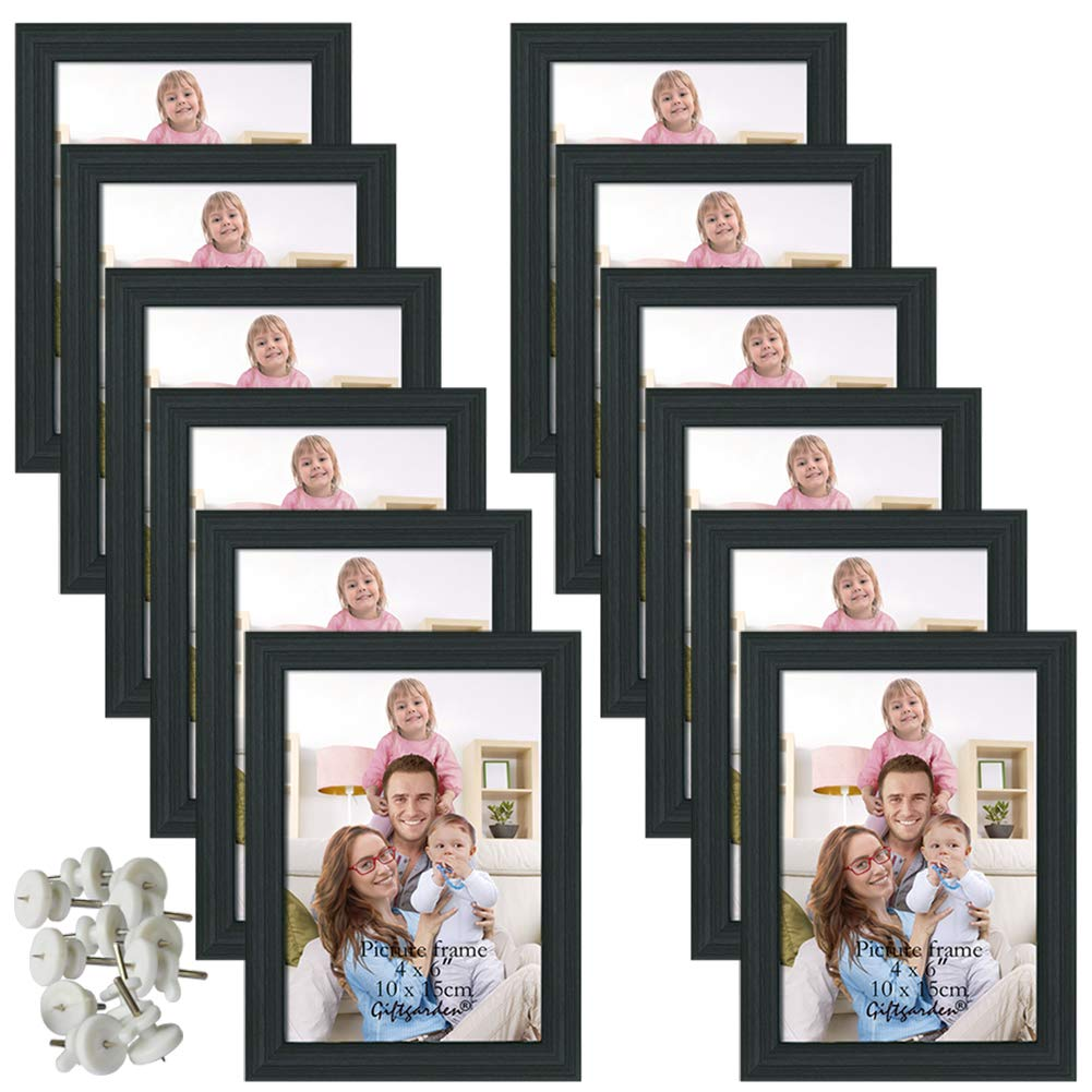 Giftgarden 4x6 Picture Frame Black Photo Frames for Wall or Tabletop, Set of 12 by Giftgarden