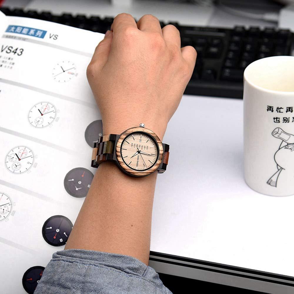 # klockor kreativ träklocka, parmodeller, koreansk stil, kalender veckolampsskärm, kvartsrörelse, bästa semestergåva armbandsur F