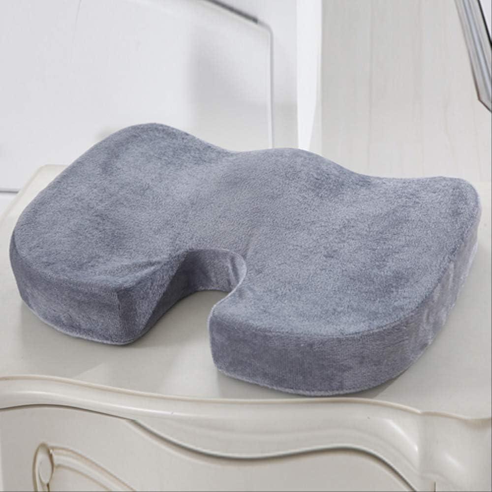 Cojín de asiento para comodidades, silla de dolor de dolor de espalda con espuma de memoria de moda, cojín de asiento ortopédico, para oficina, hogar, automóvil, silla de ruedas 45X35X7 gris claro