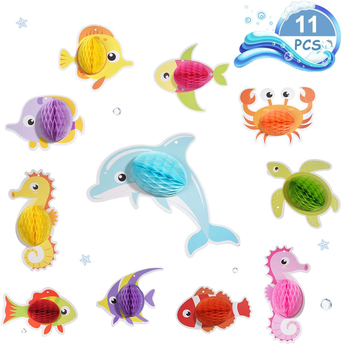 Photo Booth Props Hanging Decor for Birthday Party Decoration BUTABY 11pcs Ocean Animal Party Favors Party Supplies for Kids