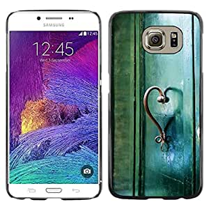 LECELL--Funda protectora / Cubierta / Piel For Samsung Galaxy S6 SM-G920 -- Teal Heart Door Photo Beautiful Meaning --