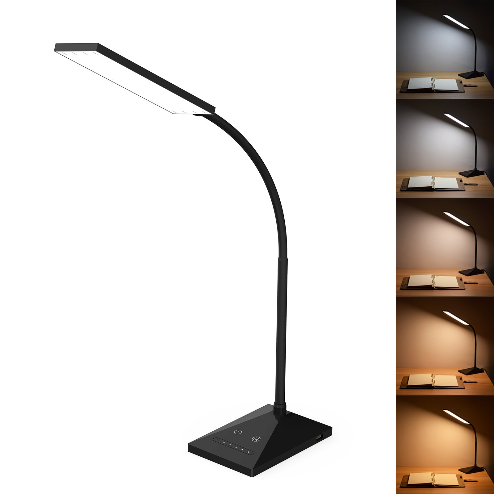 RAOYI LED Desk Lamp Eye-Caring Table Lamps, Dimmable Office Lamp with USB Charging Port, Touch Control Sensitive, 5 Color Modes, Black, 12W
