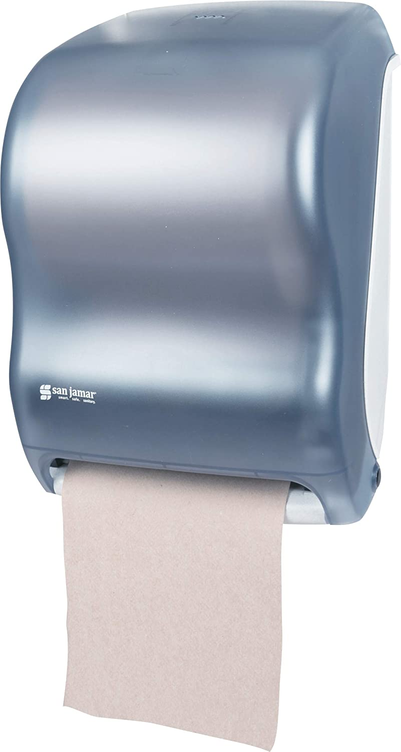 San Jamar T1300 Classic Tear N Dry Electronic Touchless Roll Towel Dispenser Fits 8 Wide And 4 Diameter Stub Roll 11 3 4 Width X 16 1 2 Height X 9 1 4 Depth Arctic Blue Paper Towel Dispensers