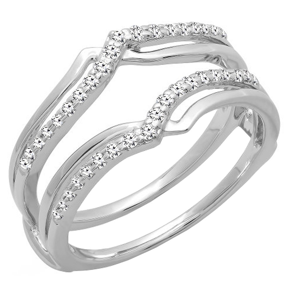 Dazzlingrock Collection 0.25 Carat (ctw) 14K Diamond Ladies Wedding Band Enhancer Guard Ring 1/4 CT, White Gold, Size 4.5