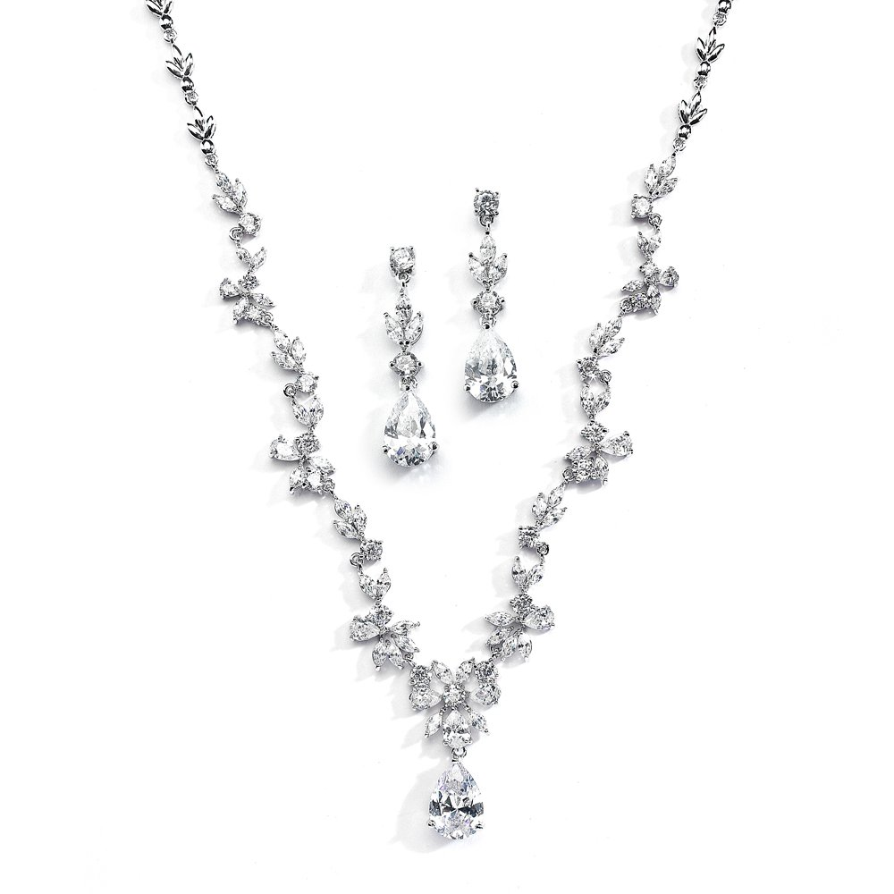 Mariell Luxurious Cubic Zirconia Vine Motif Wedding Necklace Earrings Set Brides Pageant, Statement Jewelry by Mariell (Image #1)