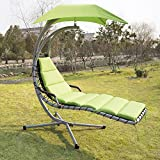 Sliverylake Outdoor Garden Hanging Arc Stand Hammock Swing Chaise Lounger Chair With Canopy For Sale