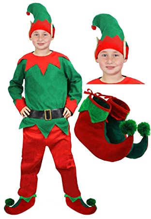 8313f2297 KIDS ELF COSTUME KIDS GREEN/RED TOP & TROUSERS WITH HAT CHRISTMAS FANCY  DRESS CHEEKY