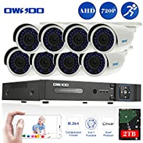 OWSOO 16CH Full 720P 1500TVL AHD DVR Security Kit with 2TB Hard Drive P2P & 8x 720P Outdoor CCTV Cameras, Weatherproof and IR Night Views, Plug and Play