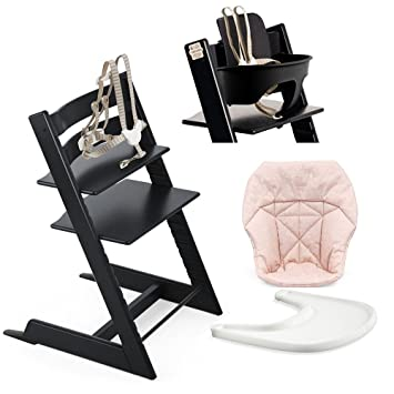 Charmant Stokke High Chair, Black Bundle With Mini Baby Cushion, Pink Bee