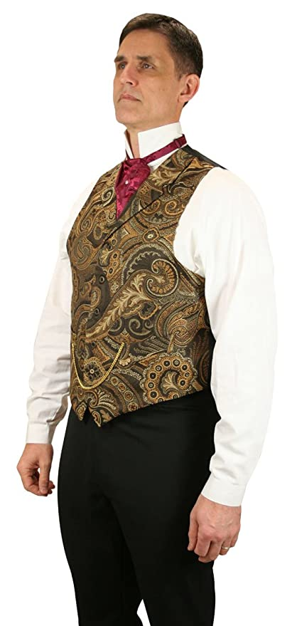 Men's Steampunk Vests, Waistcoats, Corsets Chauncey Tapestry Dress Vest $64.95 AT vintagedancer.com