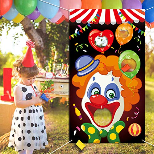 Eocolz Carnival Bean Bag Toss Games Fun Cornhole Carnival Game Set with 3 Bean Bags for Kids and Adults Carnival Party Activities Decoration (Clown)