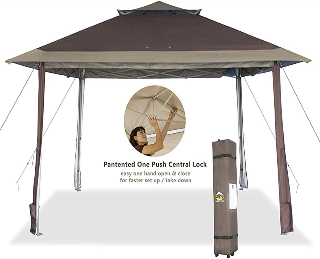 CROWN SHADES 13×13 Canopy Pop up Gazebo Yard Gazebo Canopy, Patented One Push Tent Canopy with Full Auto Awnings, Two Tiered Vented Top, Wheeled Carry Bag, 4 Ropes Upgrade Stakes, Beige Coffee