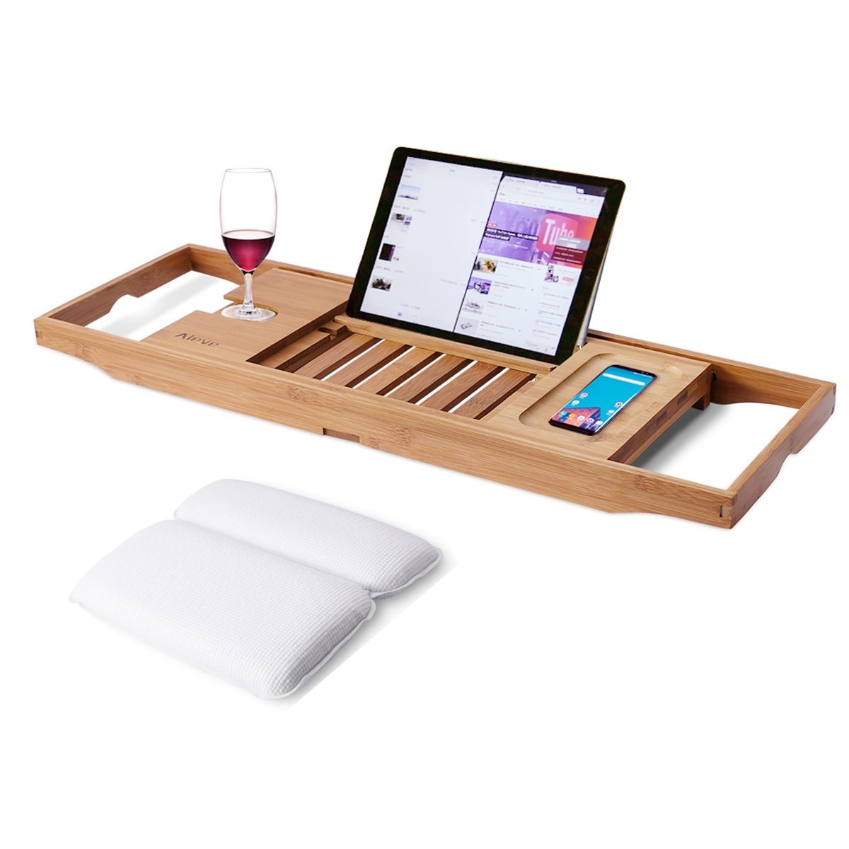 Bathtub Tray and Bath Pillow,Bamboo Bathtub Caddy Tray Bath Tray for Tub with Wine Glass Holder and Book Holder and Spa Bath Pillow with Suction Cups for Head and Neck Support by Aieve (Image #1)