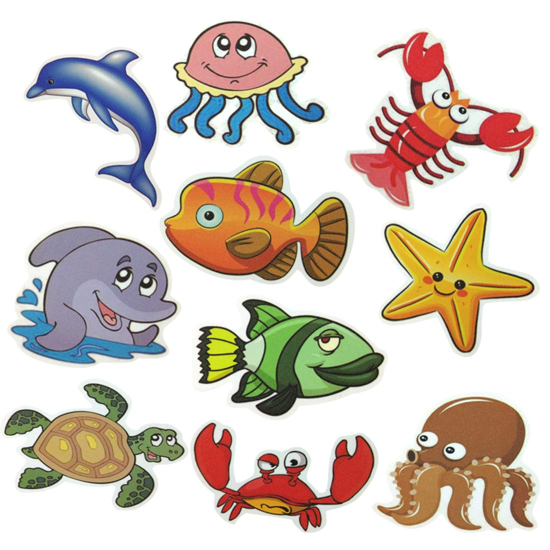 Haulonda Non-Slip Bathtub Stickers,Sea Creature Safety Shower Decals,Adhesive Anti-Slip Appliques for Kids Bath Tub Shower Surfaces(10pcs) (10PCS-A)
