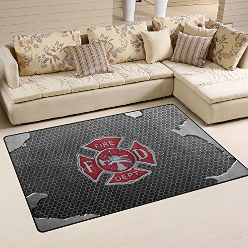 "Abbylife Fire Department Logo Firefighter Doormats Floor Mat 31""x 20"" Non-slip Area Rugs Kitchen Home Decor Living Room Bedroom Carpets"