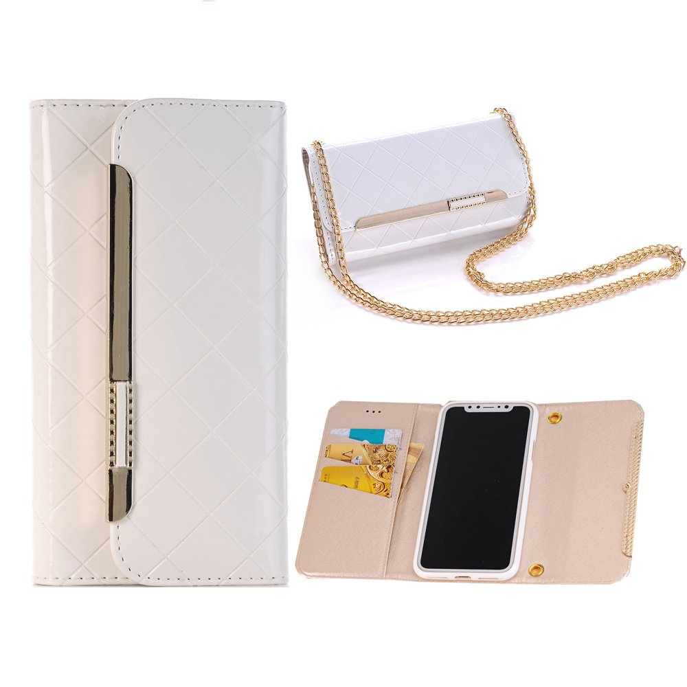 iPhone 6s Plus Purse Case,Sammid PU Leather Lady Wallet Handbag Purse with Gold Chains for 5.5 inch iPhone 6/6s Plus - White