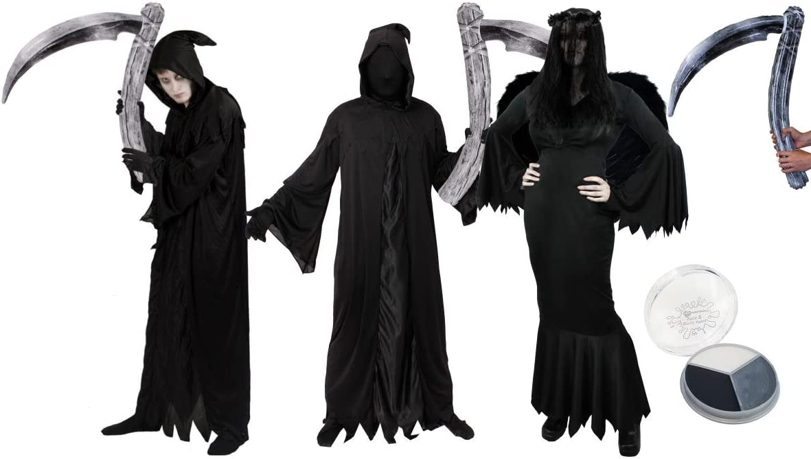 Mens Grim Reaper Costume Death Halloween Phantom Fancy Dress Outfit