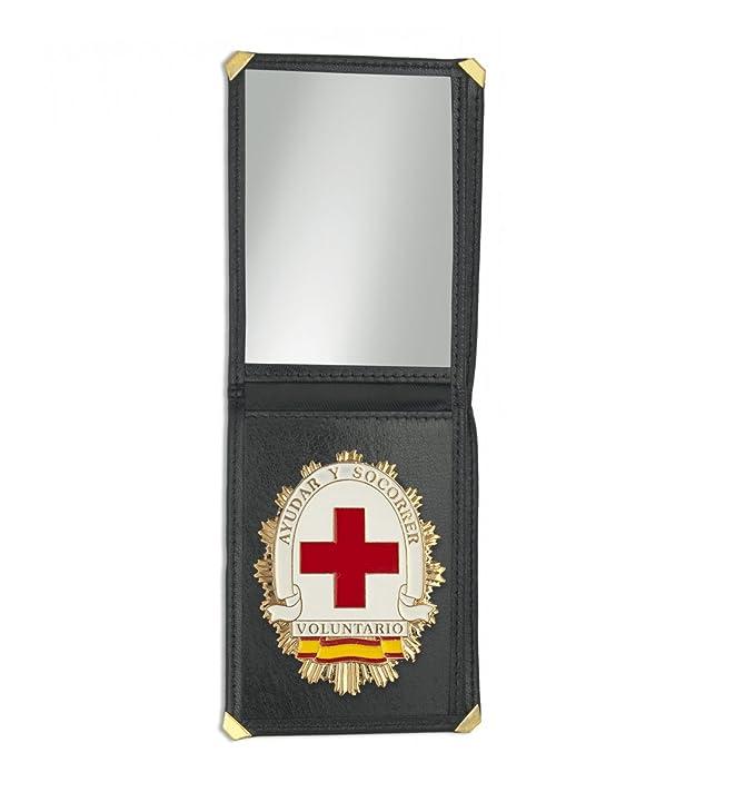 Outletdelocio. Cartera identificacion con placa Voluntario Cruz Roja. 3 Compartimentos y esquinas reforzadas