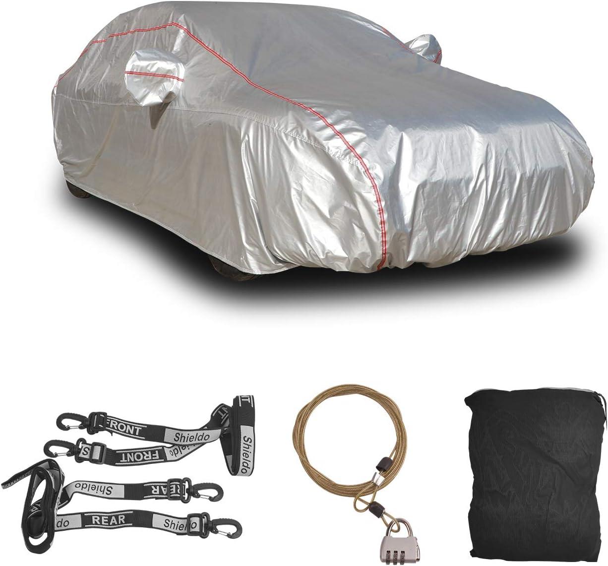 Shieldo Deluxe Car Cover with Build-in Storage Bag Door Zipper Windproof Straps and Buckles 100/% Waterproof All Season Weather-Proof Fit 191-200 Length Sedan