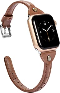 Wearlizer Brown Slim Leather Compatible with Apple Watch Bands 38mm 40mm for iWatch SE Womens Mens Strap Classic Simple Wristbands Leisure Bracelet (Silver Clasp) Series 6 5 4 3 2 1 Nike+ Sports