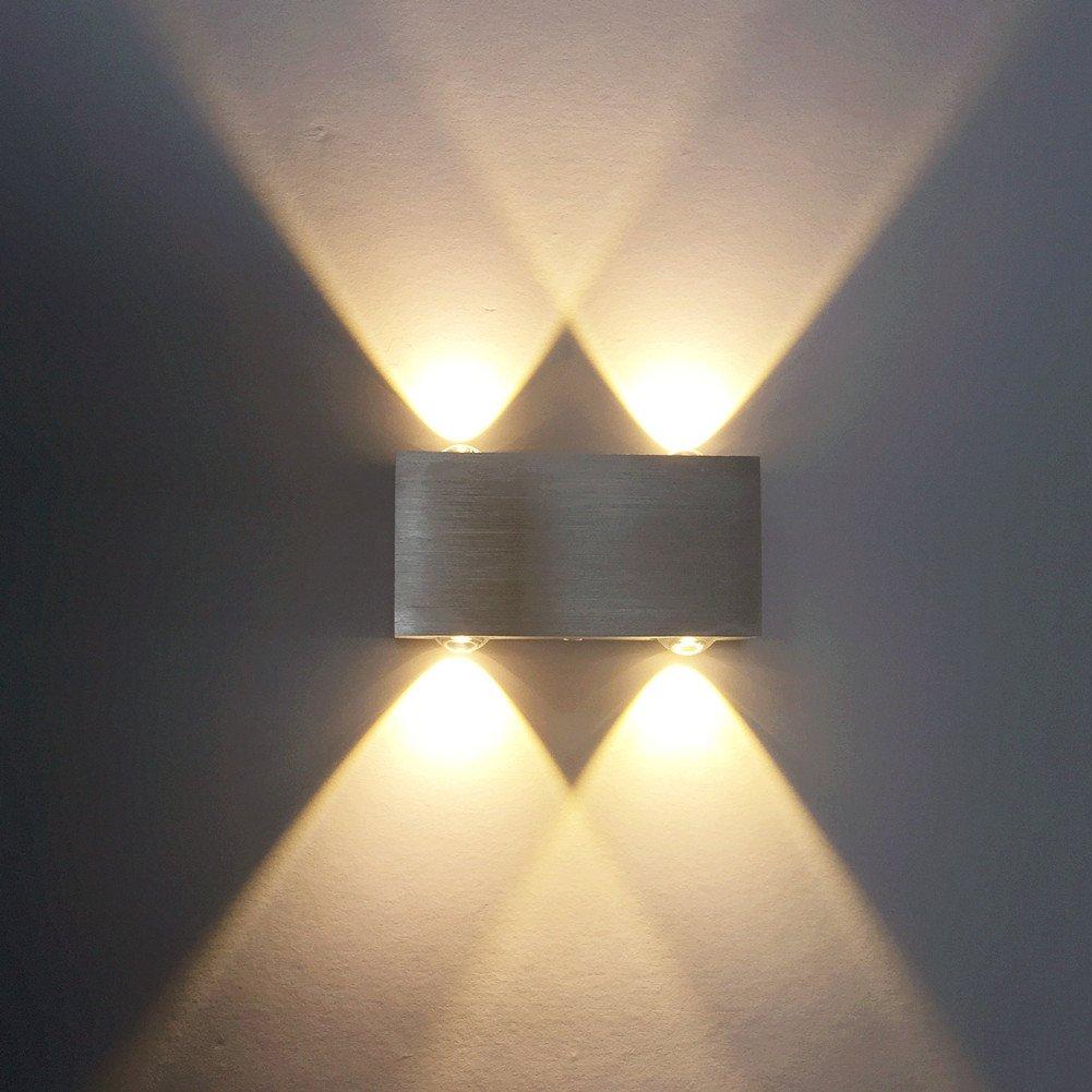 ETiME LED Wandleuchte 8W Wandlampe Warmweiss Flurlampe 2700K Aluminium (8W Warmweiss (8 LEDs))