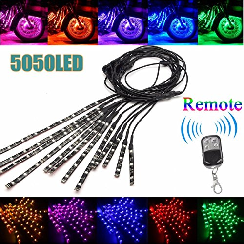 Multi-Color Accent Glow Neon LED Atmosphere Lamp Strips Kit With Dual IR//RF Remote Controller For Harley Davidson Honda Suzuki Ducati Polaris KTM Leeleberd 12PCS Motorcycle RGB LED Strip Lights kit