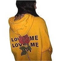 Howely Women Hoodie Long Sleeve Rose Print Athletic Pullover Tunic Sweatshirts