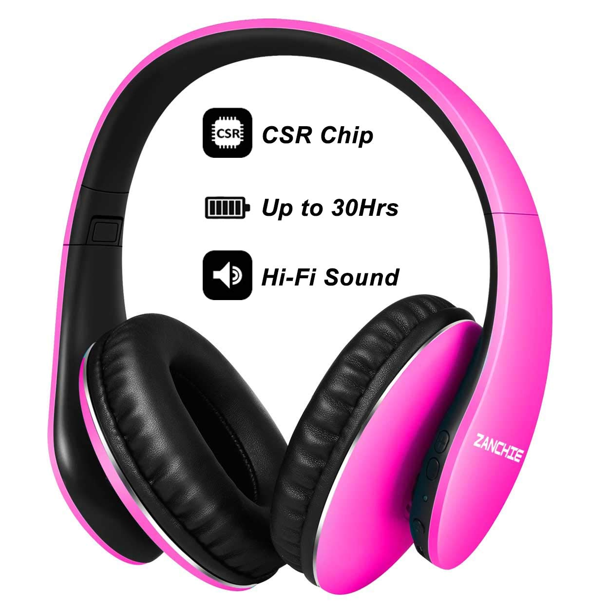 Bluetooth Headphones Over Ear, Hi Fi Stereo Wireless Headset, Foldable Soft Memory-Protein Earmuffs, 30Hrs Playtime, w/Built-in Mic and Wired Mode for Cell Phones PC TV Girls Women