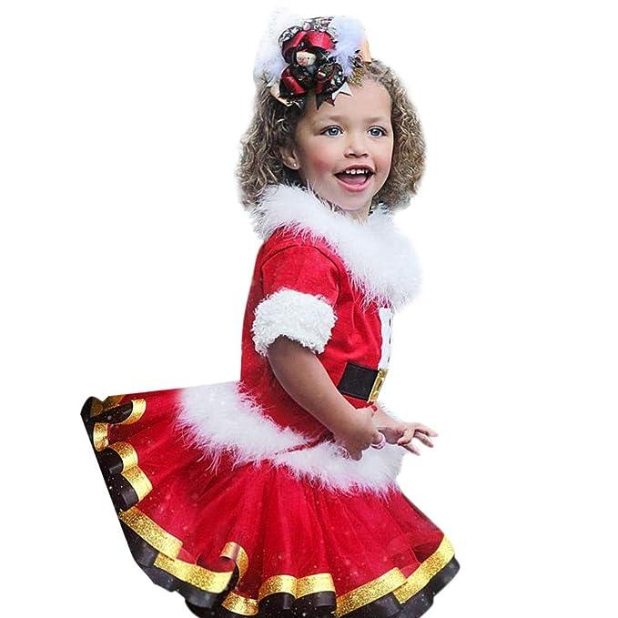 Ginli Christmas Dress Bambina Girls Natale Vestiti Bambino Abito Bambino  Cerimonia Vestito Di Bambina Bambino Neonato Bebè Natale Bimbo Top Gonna  Tutù per ... d55a430de63