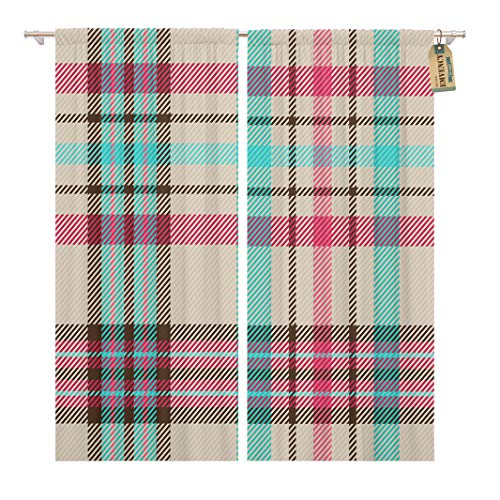 Madras Pink Panel - Golee Window Curtain Blue Check Tartan Paid Pattern Pink Madras Plaid Abstract Home Decor Rod Pocket Drapes 2 Panels Curtain 104 x 63 inches