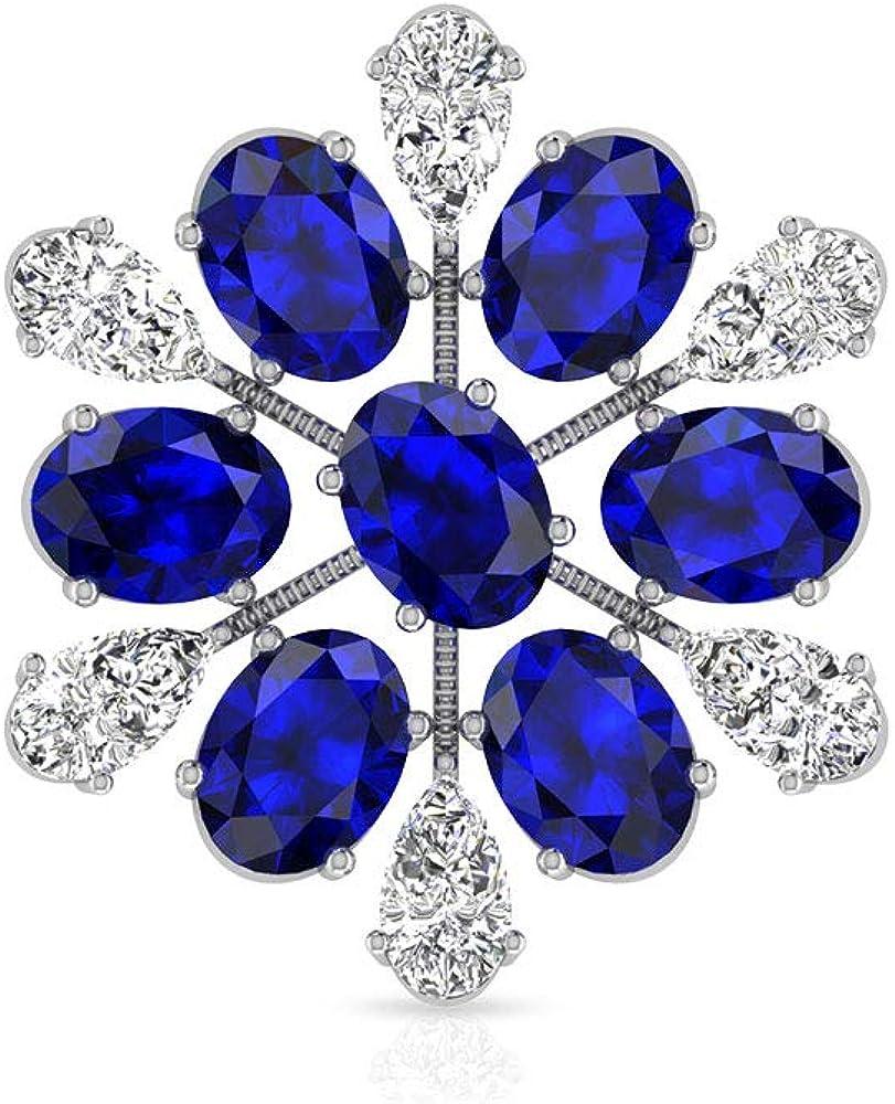 Pendientes de diamante de zafiro azul de 4,62 quilates con copo de nieve, vintage de piedra azul, flor nupcial, piedra de nacimiento de septiembre, 18K Oro blanco, Única pieza