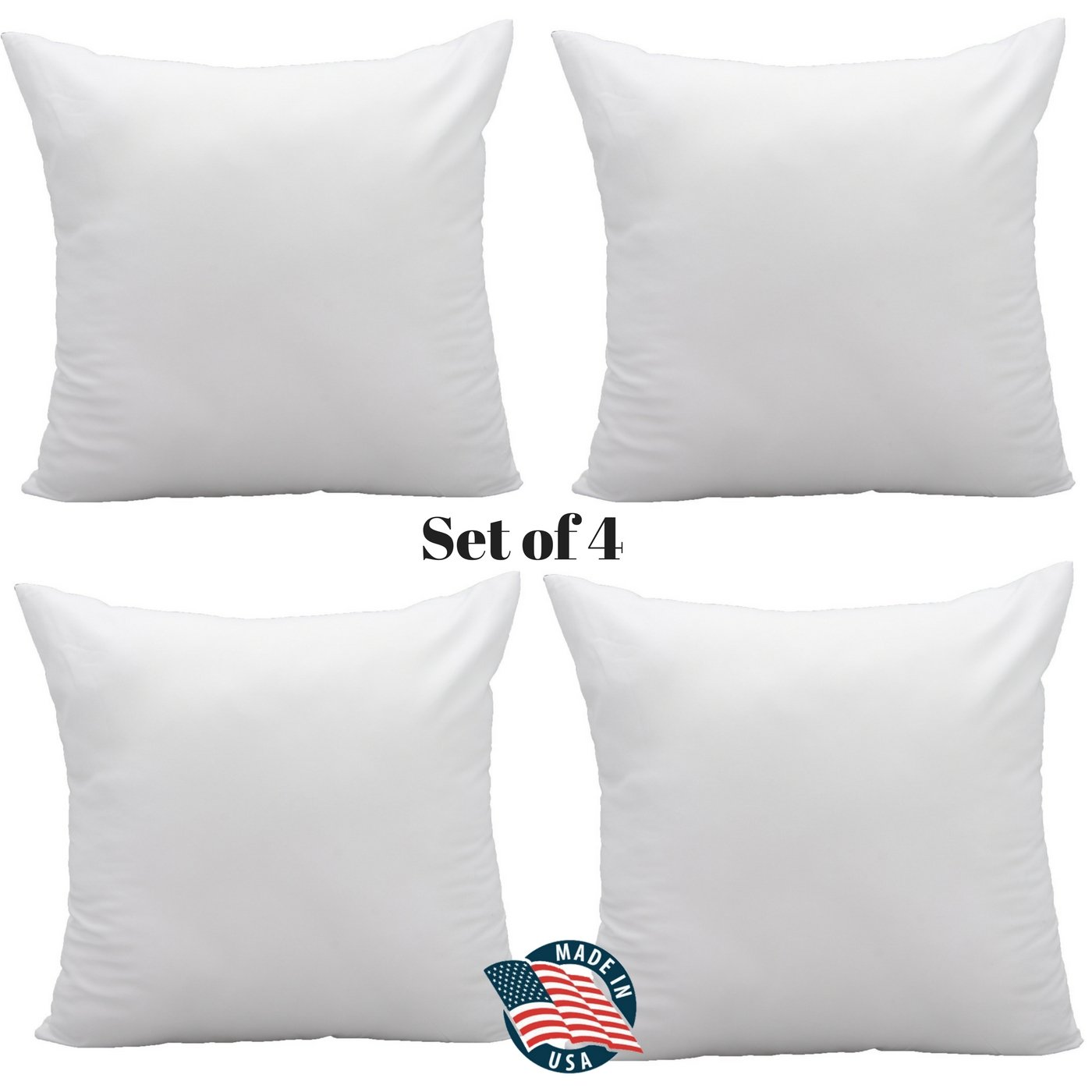 Pack of 4 Pal Fabric Soft Microfiber Square Pillow Insert for Sham or Decorative pillow Made in USA (14x14)