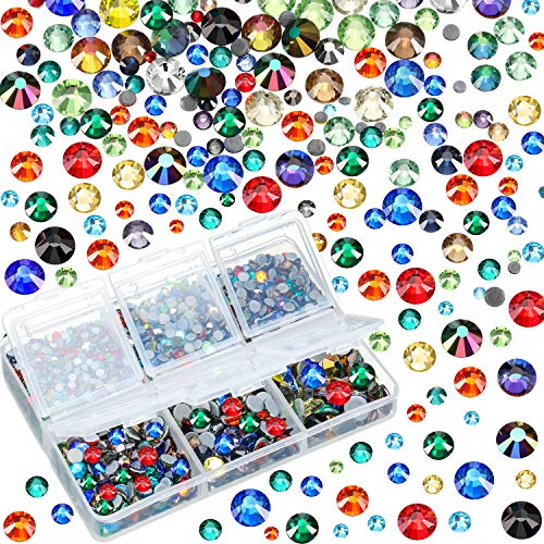 (4000 Pieces Mixed Size Hot Fix Round Crystals Gems Glass Stones Hotfix Flat Back Rhinestones (Multicolor))
