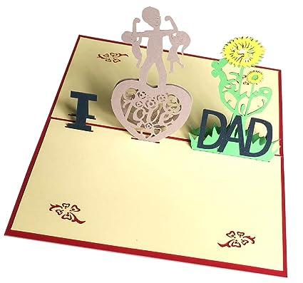 Bllomsem Tarjeta del día del padre, 3D Pop Up Tarjeta de ...
