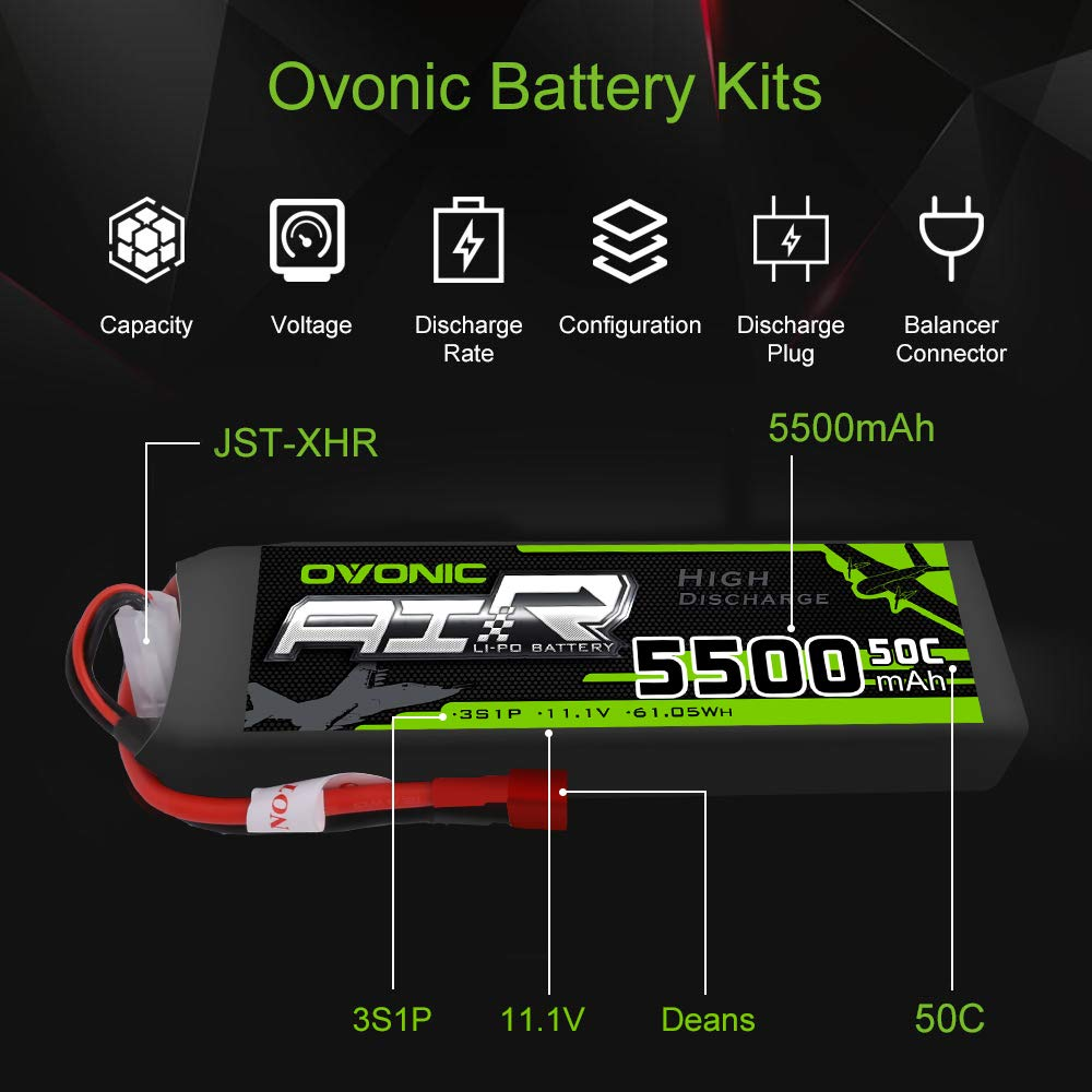 OVONIC 5500mAh 3S 11.1V 50C Lipo Battery with T Plug for DJI F450 Quadcopter Airplane Helicopter Car Truck Boat Hobby ( 2 Packs) by OVONIC (Image #2)