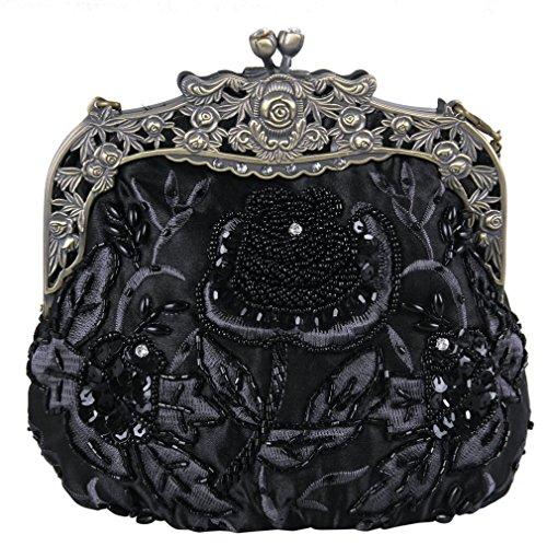 Belsen Women's Vintage Beaded Sequin Flower Evening Handbags (Black)