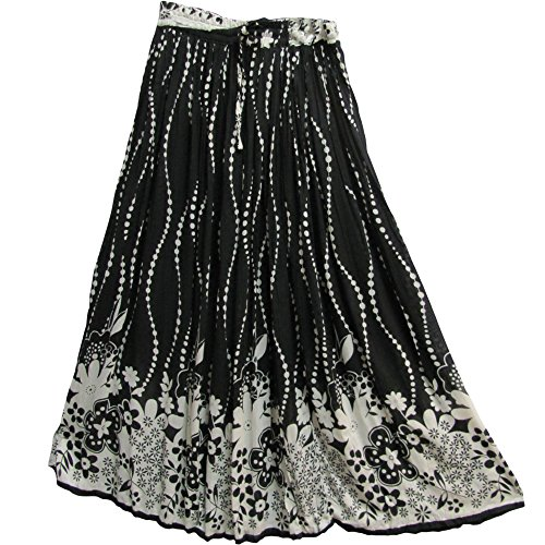 Indian Black & White Floral Print Bohemian Broomstick Long Gypsy Skirt #58