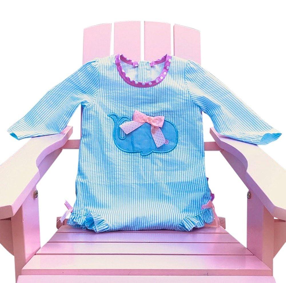 Dandeliondust Infant Toddler Girls Swimsuit Seersucker One Piece Rash Guard UPF 50+