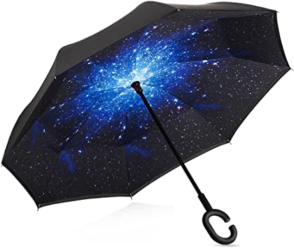 Parapluie invers/é invers/é avec poign/ée en C Bleu Protection Anti-UV invers/ée Protection Unique Contre Le Vent Cette Double Couche Pliable Convient aux Voitures