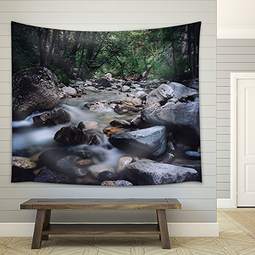 a Stream Across the Valley Fabric Wall Tapestry
