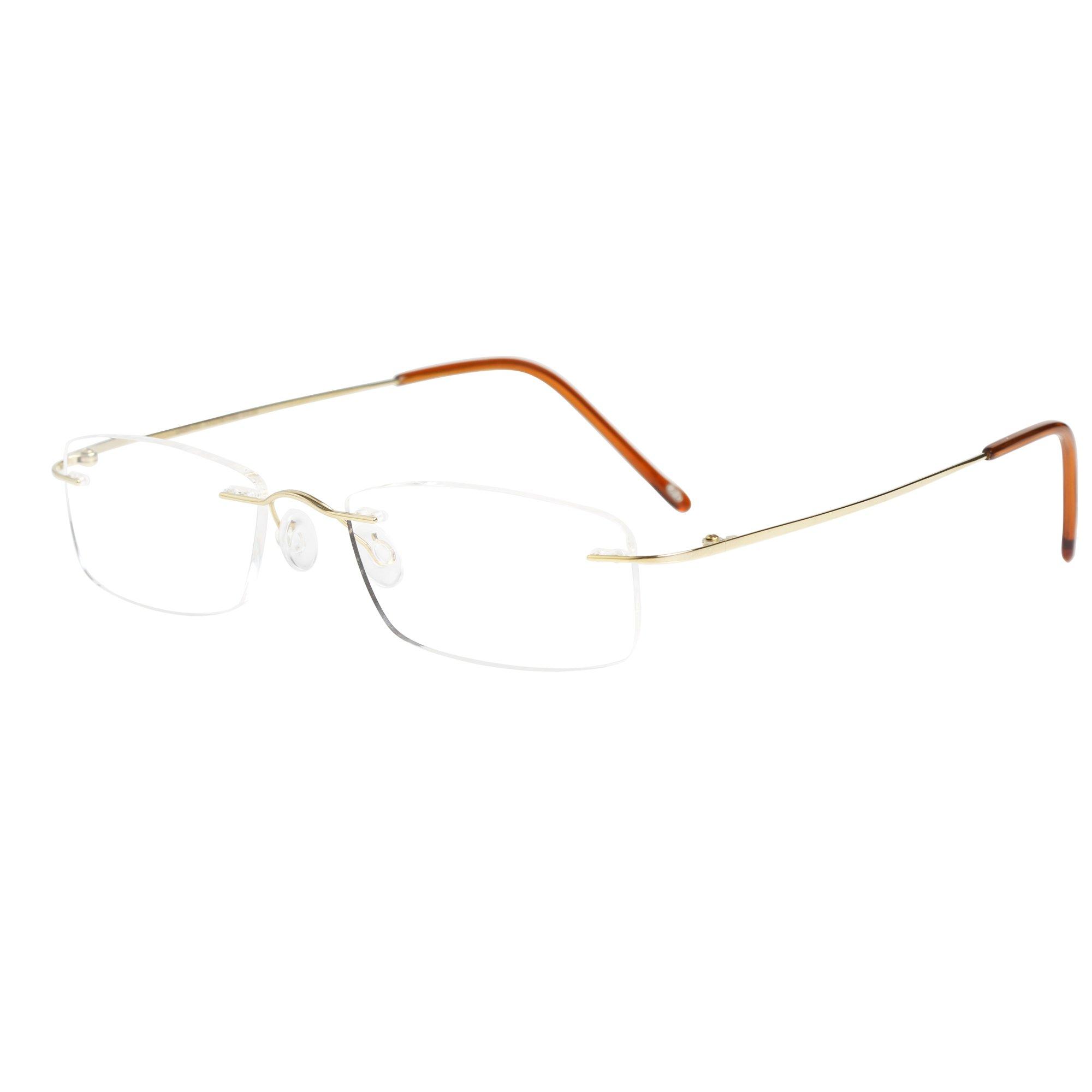 d99663b9178 LianSan Titanium Lightweight Reading Glasses Men Womens Fashion Rimless  Readers Glasses 8085 (+2.50
