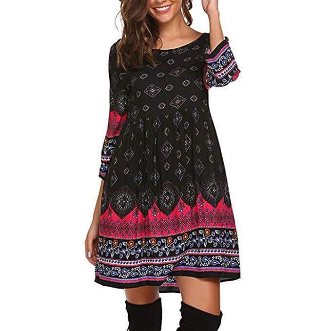 d84cb9a98e53 Women Floral O Neck High Waist Long Sleeve Swing Mini Party Club Skater  Dress (Color